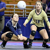 (Brad Davis/The Register-Herald) Shady Spring's Rylee Wiseman returns the ball against Bridgeport during State Volleyball Tournament action Friday morning at the Charleston Civic Center.