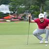 Russell Hensley lines up his putt during the third round of The Greenbrier Classic.<br /> (Rick Barbero/The Register-Herald)