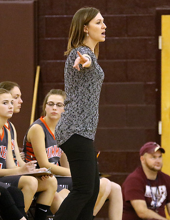 (Brad Davis/The Register-Herald) Summers County girls basketball coach Sarah Blevins against Woodrow Wilson December 7 in Beckley.