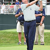 Davis Love lll hits his tee shot fro the 18th hole during the first round of The Greenbrier Classic.<br /> (Rick Barbero/The Register-Herald.com