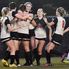 (Brad Davis/The Register-Herald) University's players celebrate a second half goal against Hedgesville during Class AAA Girls State Soccer Tournament action Friday night the YMCA Paul Cline Memorial Sports Complex.