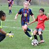 (Brad Davis/The Register-Herald) Youngsters from the Charleston Futbol Club and West Virginia Futbol Club (Huntington) square off in a U-11 girls matchup during the PowerAde Soccer Shootout at the YMCA Paul Cline Memorial Sports Complex Saturday afternoon. Rosters for the two teams were not made available.