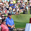 The Greenbrier Classic trophy rests on the 18th teebox during the final round of The Greenbrier Classic.<br /> (Rick Barbero/The Register-Herald)