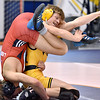 (Brad Davis/The Register-Herald) WVU Tech's Devin Wilhelm takes on Liberty University's Reid Stewart in a 141-pound weight class matchup during a tri-match Saturday afternoon in Beckley.