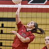 (Brad Davis/The Register-Herald) PikeView's Olivia Boggess spikes the ball during a volleyball match against Nicholas County at Liberty High School October 11.