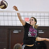 (Brad Davis/The Register-Herald) Greater Beckley Christian's Lydia Jordan swoops in in to send the ball back over as her Class A (Black) All-Star squad takes on Class AA (Pink) during the West Virginia North/South All-Star Volleyball event Saturday afternoon at Woodrow Wilson High School.