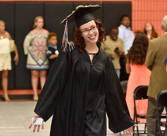 (Brad Davis/The Register-Herald) Summers County High School graduate Angela Reed during the opening moments of the school's commencement ceremony Friday evening in Hinton.