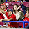 (Brad Davis/The Register-Herald) Greater Beckley Christian fans and family in the stands cheer on their Crusaders against Moorefield during State Volleyball Tournament action Friday at the Charleston Civic Center.