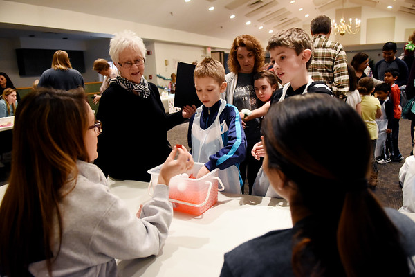 Liam Polk, 8, center, and his brother Ivan are shown how blood cells interact by WVSOM students Betsy Desmarias, left, and Talhat Mubarik, right, as their grandmother, Carol Polk, looks on during the WVSOM Science Fair Carnival in Lewisburg Saturday. (Chris Jackson/The Register-Herald)