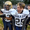 (Brad Davis/The Register-Herald) Shady Spring's Myles Coffman, left, and Braydon Harper get fired up on the sideline Friday night in Coal City.