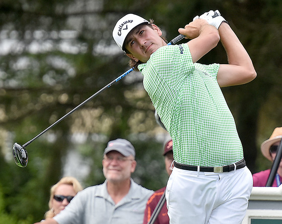 (Brad Davis/The Register-Herald) Kelly Kraft tees off on #12 during third round Greenbrier Classic action Saturday afternoon in White Sulphur Springs.