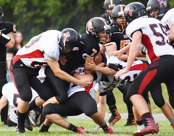 PikeView defends tackle Summers County's Tucker Lilly (7)  during their high school football game Friday in Hinton  (Chris Jackson/The Register-Herald)