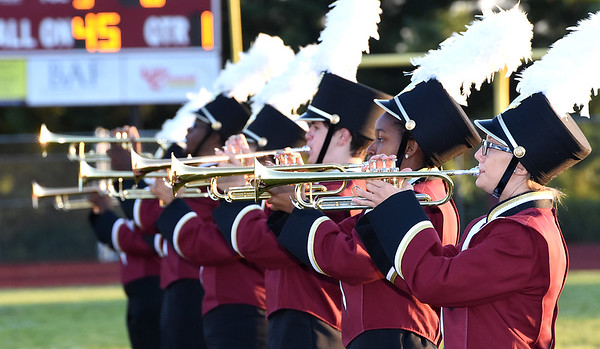 Woodrow Wilson band performs before the game against Bluefield Friday night at Van Meter Stadium in Beckley.<br /> (Rick Barbero/The Register-Herald)