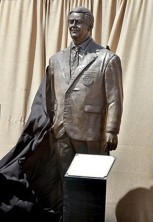 (Brad Davis/The Register-Herald) A life-sized bronze statue of United States Secretary of State Rex Tillerson is unvieled during Friday's ceremony at the Bechtel Summit Reserve.