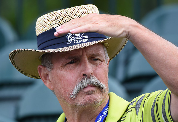 Steve Bishop, of Lake Mary, Fl, watches from 17th hole during the third round of The Greenbrier Classic.<br /> (Rick Barbero/The Register-Herald)
