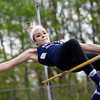 Independence's Morgan Day competes in the high jump during the Coalfield Conference Track meet Tuesday in Coal City. (Chris Jackson/The Register-Herald)