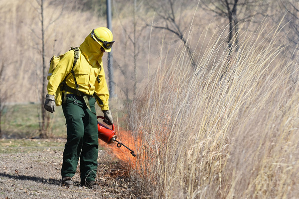 The NPS conducts a prescribed burn at the Sandstone Visitor Center as part of the New River Gorge National River Thursday. (Chris Jackson/The Register-Herald)