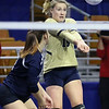 (Brad Davis/The Register-Herald) Shady Spring's Madison Lilly returns the ball against Bridgeport during State Volleyball Tournament action Friday morning at the Charleston Civic Center.