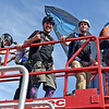 (Brad Davis/The Register-Herald) A group of jumpers prepare to go up even higher on a hydrolic lift during Bridge Day Saturday afternoon.