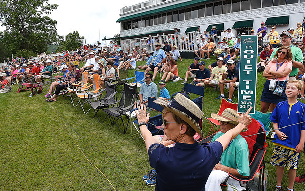 Spectators on the 18th hole during the third round of The Greenbrier Classic.<br /> (Rick Barbero/The Register-Herald)