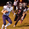 (Brad Davis/The Register-Herald) Nicholas County ball carrier Tyler Sedlock turns the corner before geting loose for a touchdown run against PikeView Friday night in Gardner.
