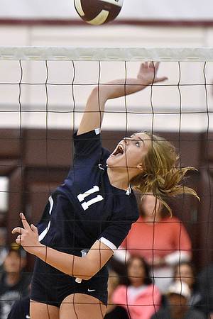(Brad Davis/The Register-Herald) Shady Spring's Brooklyn Cook goes up to blast a spike against Greenbrier East during the Shirley Brown Invitational Volleyball Tournament Saturday afternoon at Woodrow Wilson High School.