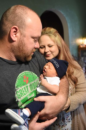 John and Erica Jones with their newly born son Greyson Xavier Jones.<br /> (Rick Barbero/The Register-Herald)