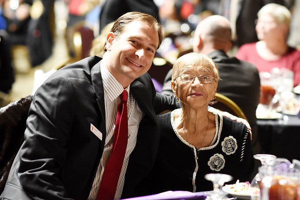 YMCA Of Southern West Virginia CEO Jay Rist with Madrith Chambers during the 31st annual Spirit of Beckley Award at the Beckley-Raleigh County Convention Center in Beckley on Monday. (Chris Jackson/The Register-Herald)