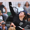 (Brad Davis/The Register-Herald) Fayetteville's Cassidy Roles leaps to hit the ball during a volleyball match against Meadow Bridge Wednesday night at Fayetteville High School.