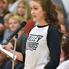 (Brad Davis/The Register-Herald) Valley High freshman Gracie Gipson speaks in opposition during a public hearing on the possible closing of the school Thursday evening in Smithers.