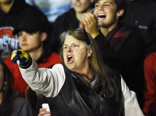 An Oak Hill fan reacts to a call by the official during their high school football game against Midland Trail Friday in Hico. (Chris Jackson/The Register-Herald)