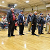 (Brad Davis/The Register-Herald) All veterans in attendance stand at the front after leading the audience in reciting The Pledge of Allegiance during Fayetteville's annual Veteran's Appreciation Day ceremony at the Fayette County Soldier's and Sailor's Memorial Building Sunday afternoon.