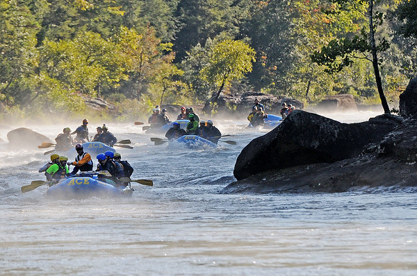Rafters paddle towards Pillow Rock rapids on the Gauley River during the 2017 opening day of Gauley Season Friday.  (Chris Jackson/The Register-Herald)