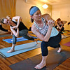 (Brad Davis/The Register-Herald) Instructor Cathy Underwood leads a class at Balanced Life Yoga September 8.