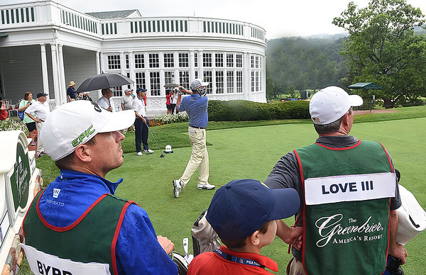 Davis Love III, tees off on the number 1 holeduring the the First Tee Scramble held on the Old White course at The Greenbrier.<br /> (Rick Barbero/The Register-herald)
