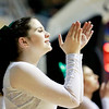 Wyoming East cheerleader Sarah Day cheers with her squad during their Big Atlantic boys basketball game against Bluefield Tuesday. (Chris Jackson/The Register-Herald)