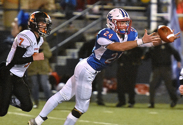 (Brad Davis/The Register-Herald) A deep ball intended for wide open Midland Trail receiver Hunter Darby just misses its target as Summers County defender Tucker Lilly gives chase Friday night at Nicholas County High School.