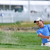 (Brad Davis/The Register-Herald) Xander Schauffele chips from a bunker on #17 during first round Greenbrier Classic action Thurdsay afternoon in White Sulphur Springs.