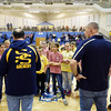 John Judy. left, and Clint Smith, both coaches from Shady Spring, speak with students from Peterstown, Chesapeake and Sherman elementary school archery teams, during a competition Saturday at Shady Spring Middle School. (Chris Jackson/The Register-Herald)