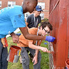 (Brad Davis/The Register-Herald) Scouts (front to back) Antwane Pope, Gavin Arellano and Jack Isphording from Troop 2320 out of Cincinnati, Ohio work on painting the gazebos on the grounds of Jackie Withrow Hospital Thursday afternoon in Beckley.