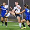 (Brad Davis/The Register-Herald) Shady Spring's Hannah Lawson tries to knock down an area pass near the goal as Princeton defenders Holli Miller, left, and Kaya Houghland converge on her Thursday night at the YMCA Paul Cline Memorial Sports Complex.
