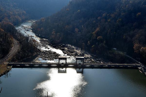 (Brad Davis/The Register-Herald) The Hawks Nest Dam along the New River from above November 16.