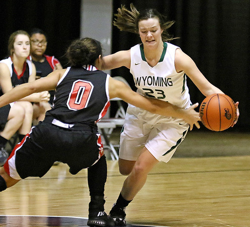(Brad Davis/The Register-Herald) Wyoming East's Katie Daniels against St. Albans in the Big Atlantic Classic at the Beckley-Raleigh County Convention Center February 4.