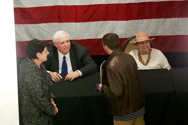 Governor Jim Justice and First Lady Cathy Justice meet hundreds in a receiving line following his inauguration as the 36th Governor of the State of West Virginia at the Capitol in Charleston on Monday. (Chris Jackson/The Register-Herald)