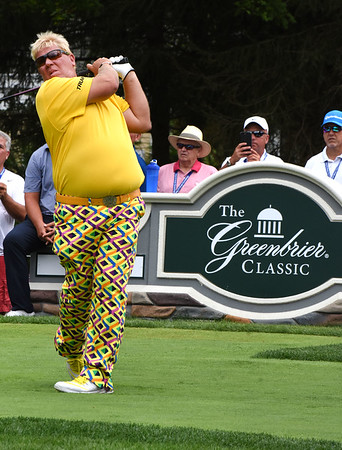 John Daly hits his tee shot on the 12th hole during the first round of The Greenbrier Classic.<br /> (Rick Barbero/The Register-Herald.com