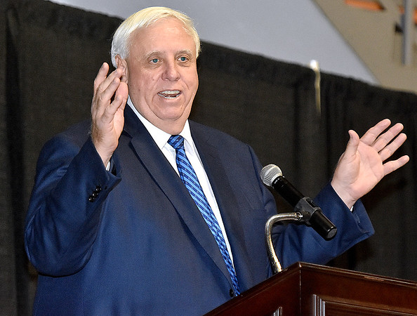 (Brad Davis/The Register-Herald) Governor Jim Justice speaks during the Big Atlantic Classic Tip-Off Banquet Sunday afternoon at the Beckley-Raleigh County Convention Center.