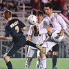 (Brad Davis/The Register-Herald) Woodrow Wilson's Daniel Saikali battles for possession with Shady Spring's Gavin Patton on Flying Eagles senior night Thursday at the YMCA Paul Cline Memorial Sports Complex.