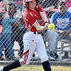 (Brad Davis/The Register-Herald) Independence's Madison Adkins drives in a run during the 1st inning of the Patriots' game against James Monroe Friday evening in Coal City.