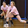 (Brad Davis/The Register-Herald) James Monroe's Kelli Ellison ranges over to return a serve as her class AA (Pink) All-Star team takes on a second squad of Class AA All-Stars during the West Virginia North/South All-Star Volleyball event Saturday afternoon at Woodrow Wilson High School.