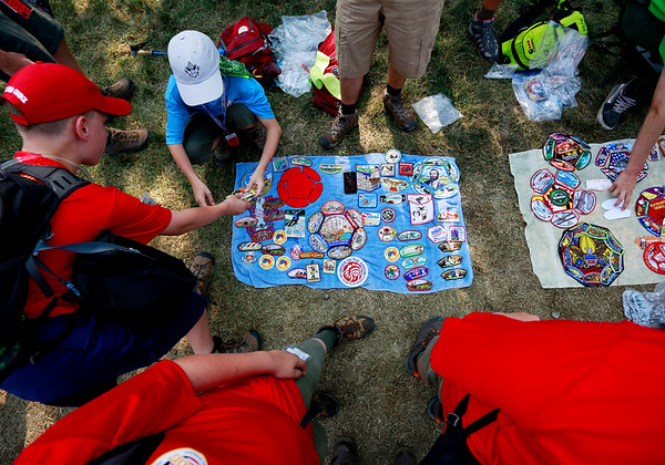 Scouts trade patches at Adventure Zone during the 2017 National Jamboree at The Summit Bechtel Reserve near Mt. Hope. (Chris Jackson/The Register-Herald)